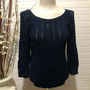 American Eagle Outfitters Womens Size L Navy Cable Knit Long Sleeve Sweater